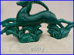 STATUE art déco gazelle antilope CÉRAMIQUE VERT numérotée Haut 23 cm L 45 cm