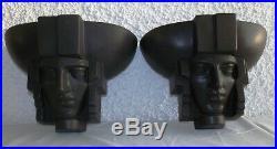 Saint-Clément Pair Black Ceramic Sconces Egyptian Mask Art Deco France Appliques