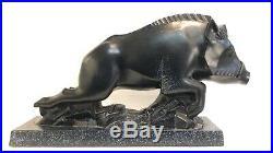 Sculpture Dun Sanglier Chargeant Ceramique Émaillée Art Deco