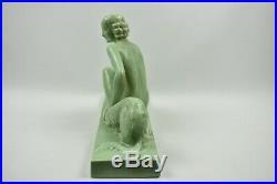 Sculpture années 1920 Femme au lévrier Lemanceau