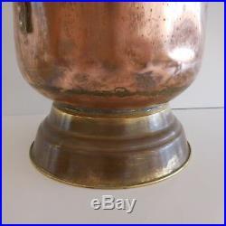Seau à charbon fait main laiton cuivre bronze céramique art-déco France signé PN