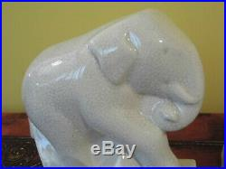 Serre-livres éléphants Céramique Art Déco faïence craquelée