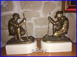 Serres Livres Art Deco Joueurs De Golf Bronze Socle Ceramique Craquelée Signés