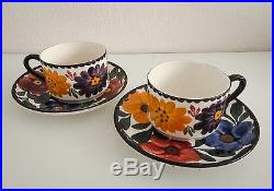 Service à thé, 7 pièces en céramique de Gien et Schramberg, époque art-déco