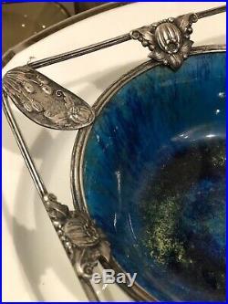Sevres Ancienne Coupe Metal Argente Argent Massif Ceramique Art Deco