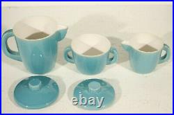Sèvres SMF céramique de Mazeaud & Faverot Ensemble bleu turquoise Art Déco 1940s