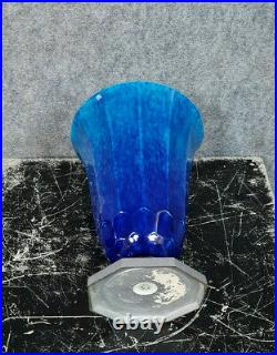 Sèvres par Paul Milet large vase époque Art Déco en céramique glacée bleue