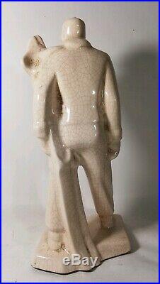 Skieur en céramique craquelée, Art Déco, 1930s