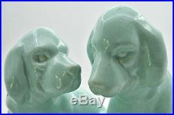 St Clement Primavera Luneville chiens céramique craquelé turquoise art deco