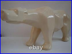 Statue Figurine Ours Animalier Style Cubiste Porcelaine Craquele Ceramique