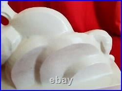 Statue LEJAN art déco années 1930 céramique craquelée femme avec son lévrier