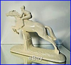 Statue Sculpture Sarreguemines Cheval Jockey Céramique faïence Art Déco 1925/30