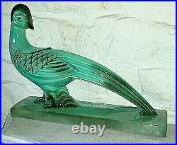 Statue d'oiseau époque art déco en faïence turquoise