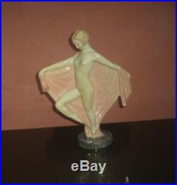 Statue sculpture art déco femme AU VOILE cèramique signer COULON EDITION KAZA