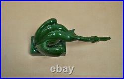Statuette animalière céramique pélican vert signé D. H. Chiparus art déco 1930