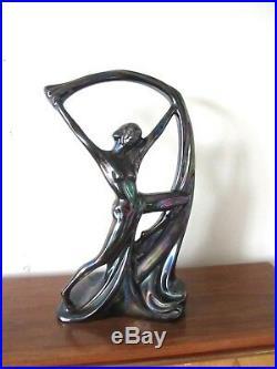 Statuette céramique irisée danseuse art deco art nouveau style Loïe Fuller