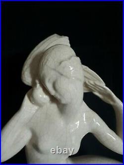 Sujet céramique craquelée femme GENVANE 1930 Art Déco
