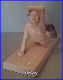Sujet en céramique craquelée signé M. COULON Edition KAZA époque Art Deco Faune