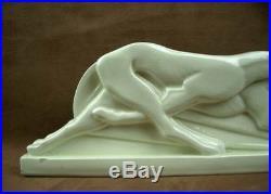Superbe Ceramique Craquele Epoque Art Deco Deux Levriers Signee Lemanceau
