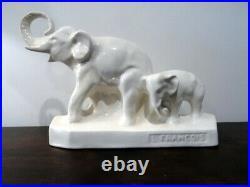 Superbe Ceramique Craquelee Art Deco Francois Levallois Elephan Avec Son Petit