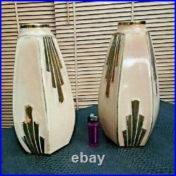 Superbe Paire d'anciens vases art-déco en céramique signé ODYV (477) France