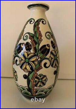 Superbe Vase Ceramique Emaillee Decor Cubisant De Charles Catteau Boch