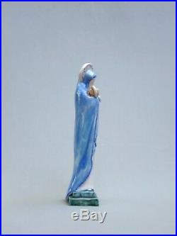 Superbe Vierge De Tendresse A L'enfant Ceramique Art Deco Signee, Dlg Heuvelmans