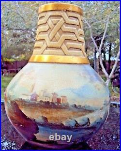 Superbe gros vase en céramique art-déco décor de paysage signature à identifier