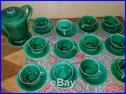 Superbe service à café art déco vert céramique d'art ELCHINGER FILS