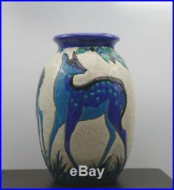 Superbe vase modèle daims Art Déco Keramis Charles Catteau céramique craquelée