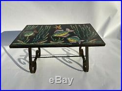 Table Basse 1960 A Carreaux Decor Poissons Ceramique Pietement Metal L59