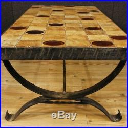 Table basse salon métal meuble signé design céramique style ancien XX 900 décor