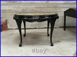 Table guéridon noyer laqué noir anglais céramique 1930 1950