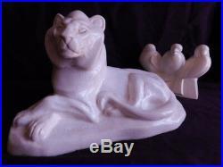 Thomas Cartier 1879-1943 Grand Lion Ceramique Craquelle Art Deco 1930-35