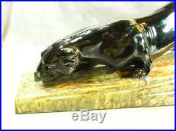 Tn Bavent Ceramique Ancienne Sculpture Animaliere Panthere Noire Black Panther