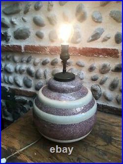 TreS Belle Lampe Signé CH Charles Harva 1930 Art Deco Céramique Craquelée