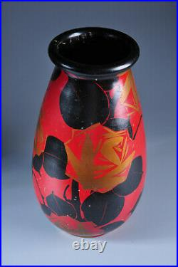 Vase Art Déco Louis Giraud 1930 céramique Vallauris noir et rouge old ceramic