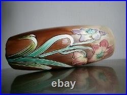 Vase Art Nouveau Barbotine De Bruyn Fives-lille Ceramique 1900 Deco Florale