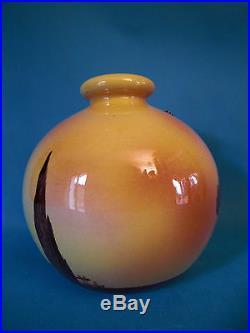Vase Boule A La Cigale Art Deco En Céramique Sicard A Aubagne Années 30