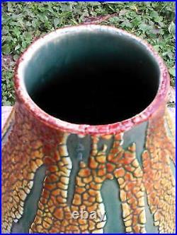 Vase Céramique Émail Crispé St Clément Art Déco. Forme Obus Polychrome. Rare. Ttbe