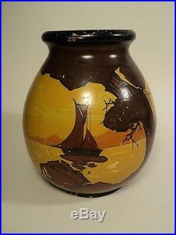 Vase Céramique Louis Giraud Vallauris Décor Provence Bateaux Art Déco