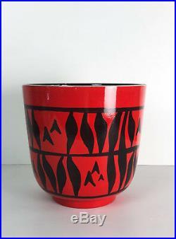 Vase D'époque Art Déco En Céramique De La Manufacture Elchinger -28,5cm De H