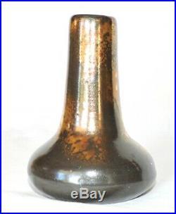 Vase En Ceramique Noir Et Or Leon Pointu Gres Puisaye Art Deco