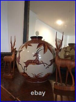 Vase Important En Céramique Craquelé Style Art Déco DLG (catteau Chevalier)