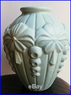 Vase ancien céramique, décors art déco bleu canard