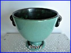 Vase art deco céramique Henri Chaumeil dlg Mayodon design xxeme vert céladon