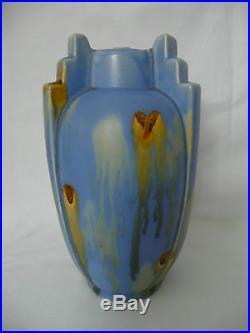Vase art déco céramique de thulin Belgique joli bleu grès Belgium ceramic 22 cm