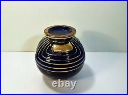Vase boule Art Déco en céramique émaillée bleu Pinon Heuze