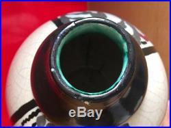 Vase boule ceramique craquelé art deco signé d'argyl