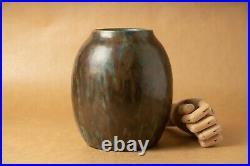 Vase céramique grès ancien art déco 1930 émail coulure signé Paul Beyer